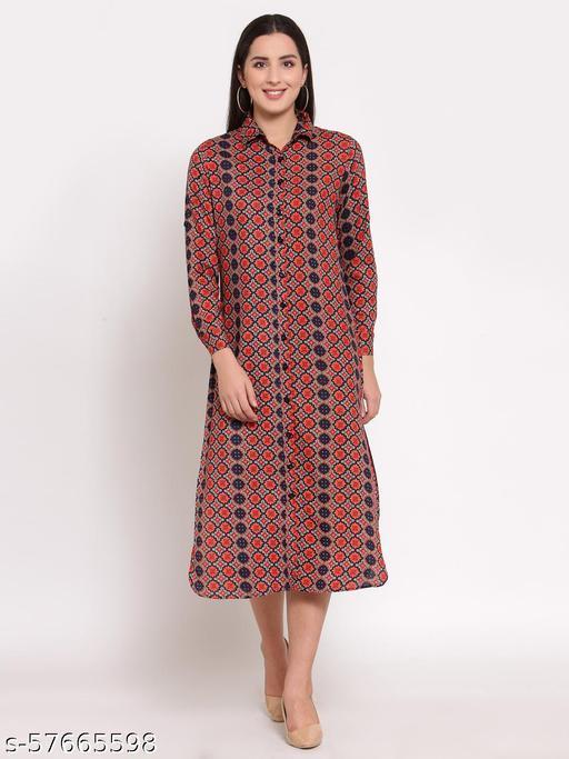 Lucero abstarct print button down shirt dress