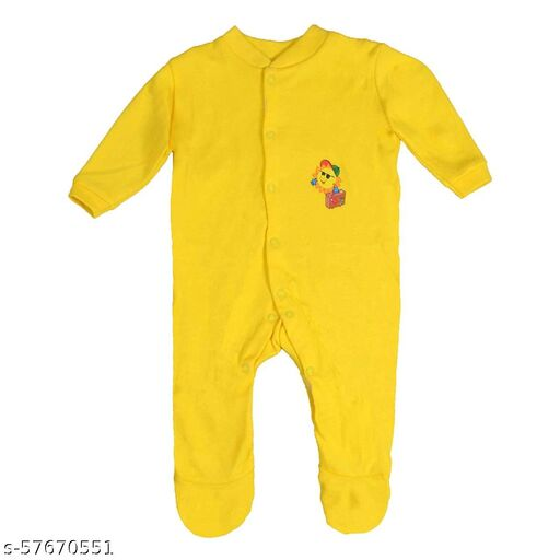 FIRST CHOICE New Born Baby Multi-Color Long Sleeve Sleep Suit Romper Onesies for Boys and Girls Set of 3 (Yellow)