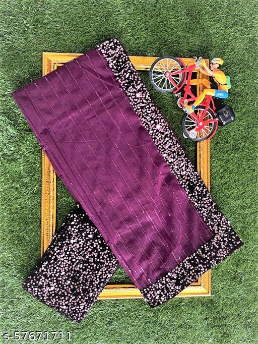Georgios New Weading, Party & Fastival Collection On PURE BUTURFLY NET Saree With SEQUNCE EMBRODARY WORK & 3MM SEQUNCE BORDER (WINE__5.5 Meter Saree_0.8 Meter PINK Color Unstitched & Separate Blouse)