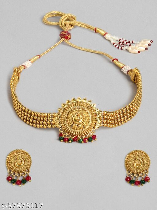 Kord Store Traditional Gold Plated Round Shape Long Haram Necklace set For Girls and Women
