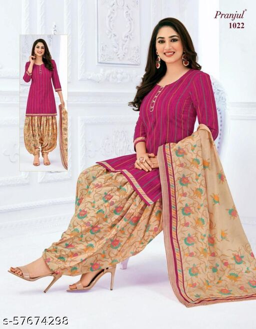 Stylee Lifestyle Pink Colored Pure Cotton Printed Punjabi Suit Dress Material
