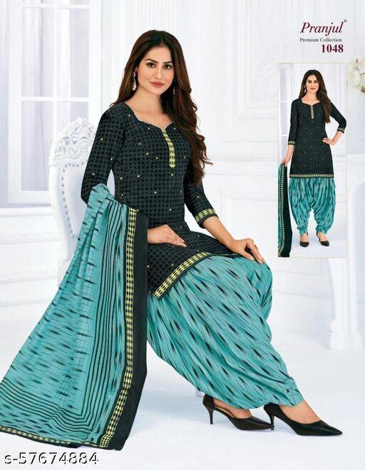Gleaming Grey Colored Casual Wear Printed Pure Cotton Salwar Suit