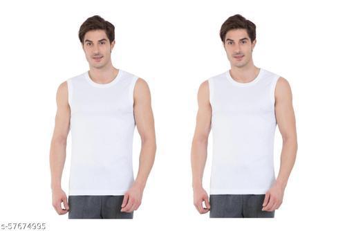 GMR Men Cotton Vest White Pack of 2