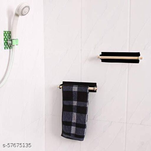 Self-Adhesive Metal and Wooden Bathroom Towel Rod Bar Wall Hanging Towel Rack
