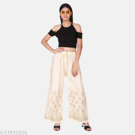 WOMEN OFF WHITE FLORAL PRINTED KNITTED ETHNIC PLAZZOS