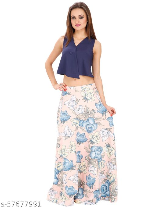 SVT ADA COLLECTIONS PEACHPUFF COLOR POLY VISCOSE PRINTED LONG SKIRT.