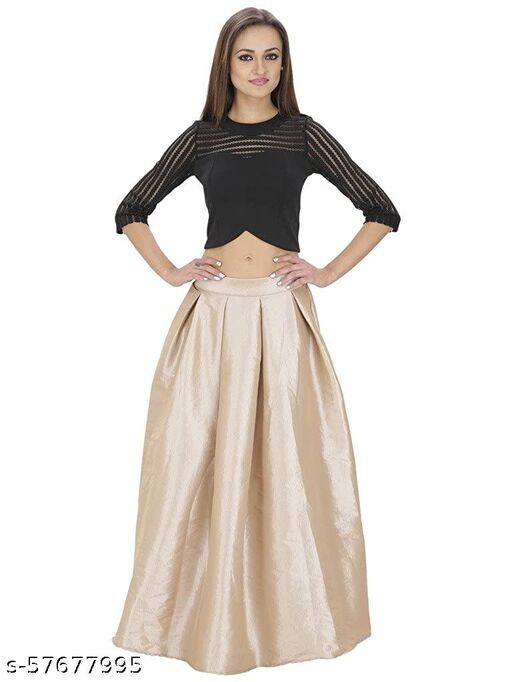 SVT ADA COLLECTIONS Beige Solid Long Skirt