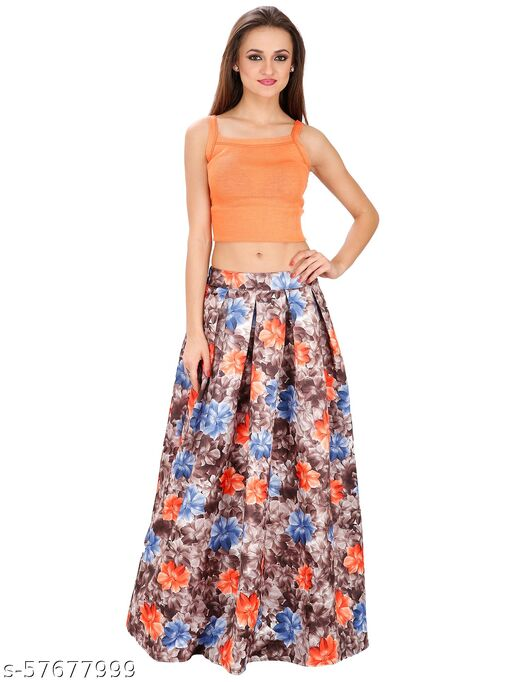 SVT ADA COLLECTIONS BROWN COLOR COTTON SATIN FLORAL PLEATED LONG SKIRT.