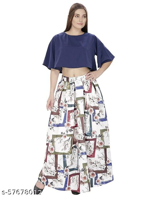 SVT ADA COLLECTIONS WHITE COLOR SATIN PRINTED LONG SKIRT