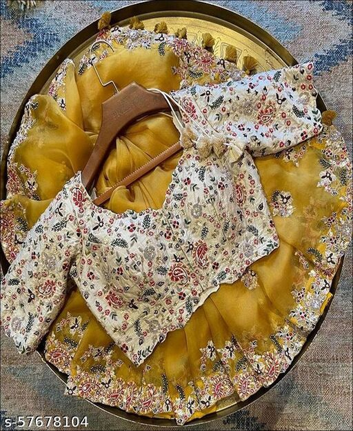 Yellow Colored Organza Silk Saree