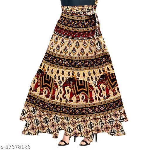 Ashoka Enterprise Women's Stylish And Comfrotable  Ethnic Cotton Wrap Long Skirt