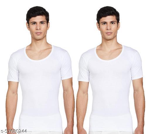 ELK Men's Cotton White Halfsleeve RNS Vest Innerwear (Pack of 2)