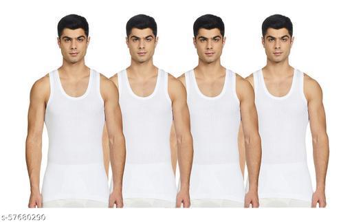 ELK Men's Cotton Rib White Sleeveless Vest Innerwear (Pack of 4)