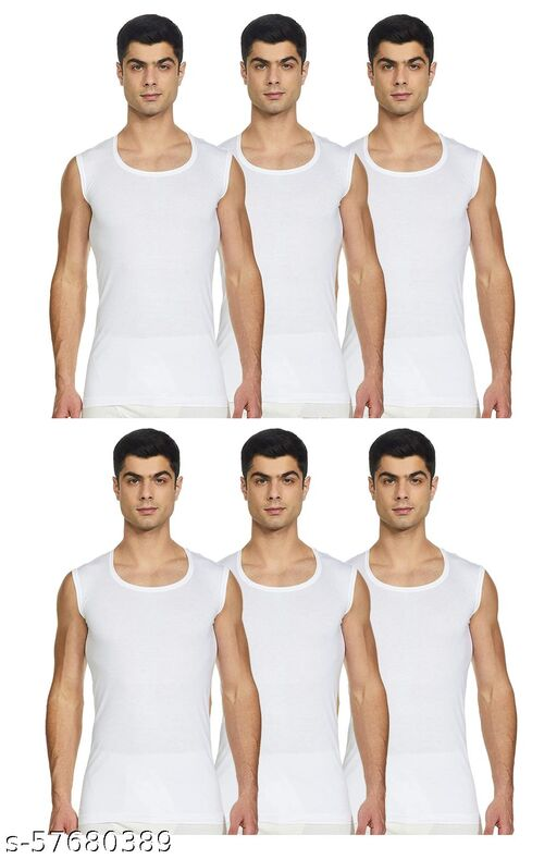 ELK Men's Cotton White Sleeveless Vest Innerwear (Pack of 6)