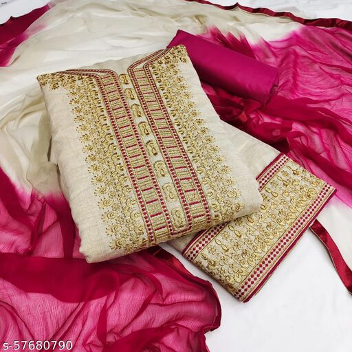 Women's Khadi Cotton Embroidery Work Dress Material with Dupatta