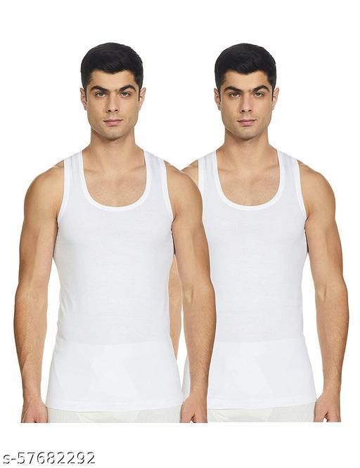 ELK Men's Cotton White Sleeveless Vest Innerwear (Pack of 2)