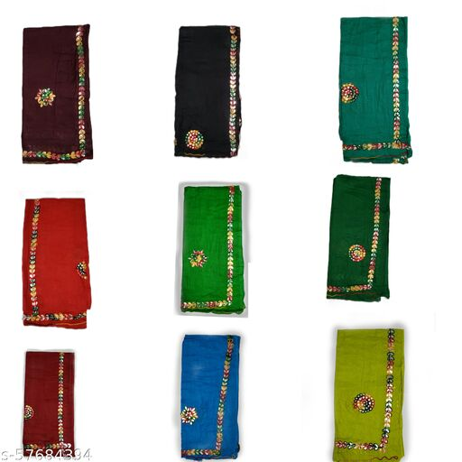 Mahabali Creation Women's pure cotton dupattas pack of 9 with multicolor piece