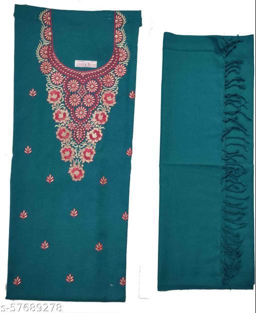 Vrinde Kashmiri Embroidered  Wollen unstiched Salwar Suit & Stole Material
