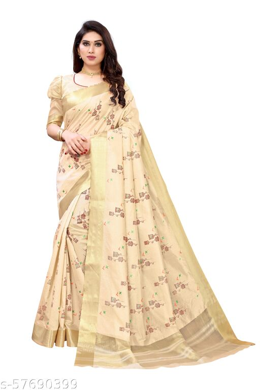 Womens Cotton Blend Printed Saree With Blouse Piece