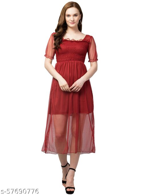 Women Fit and Flare Net Dress