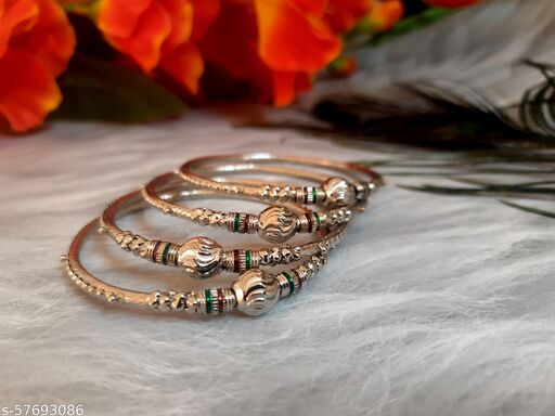 Swanky Diva Jewellery Traditional Silver Plated 4 Oxidized Bracelet Bangles Set for Girls and Women