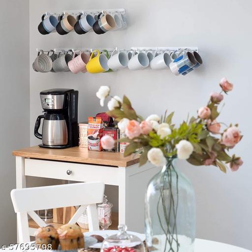 MFS Craft World 4 Sectional White Wall Hooks for Pantry Organization and Storage - Kitchen Cabinet Organizer - Coffee Mug Holder - Pan Organizer Wrought Iron