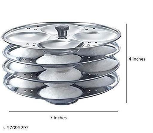 Stainless Steel Induction Base 4 Tier Idli Maker/Idli Stand | Idli Plates | Idli Steamer| Idli Sancha (16 idli) 7 x 5 inches