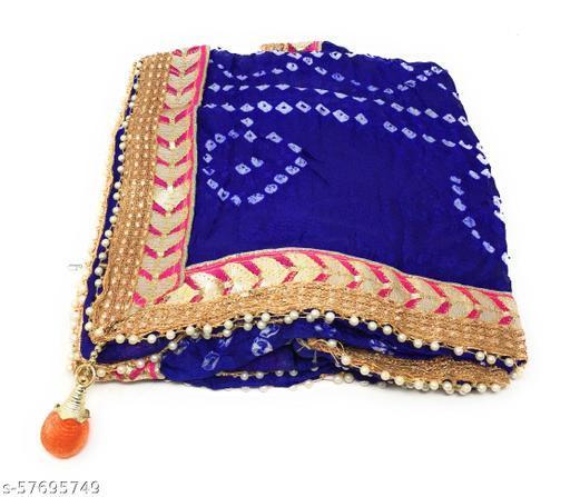 Inhika Women's Embroidered Bnadhani Dupatta, Chiffon Material (Royal Blue)