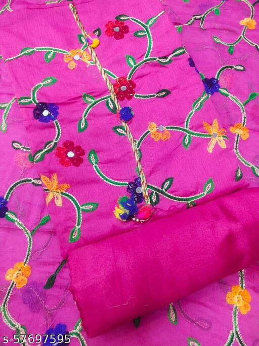 chanderi  with dupatta work Semi-Stitched Suits