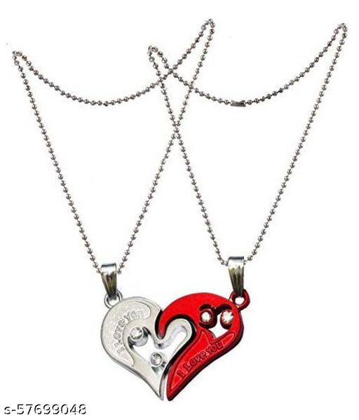 Stylish Valentine Special Heart Shape Pendant For Couples(Red)