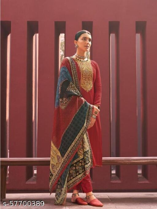 Pure Jam satin with exclusive Coding embroidery Un stitch suit