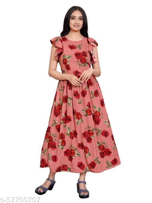 Kremiza Bell Sleeve Stylish Women  Printed Dress
