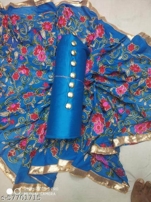 gless cotton  work with karachi dupatta Semi-Stitched Suits