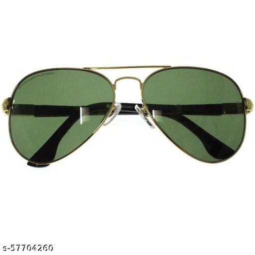 affable unisex over sized sunglasses by jazz inc, frame color gold and lens color green (1) (LWF219)