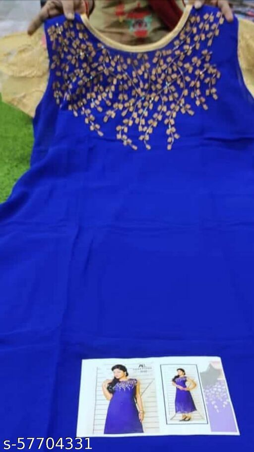 Blue Coloured Heavy Georgette Chiffon Long Kurti with Sleeves
