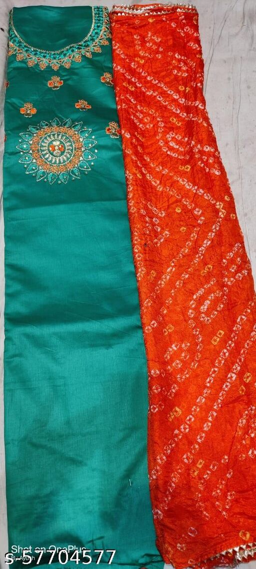 Cotton suit with chinnon bandhej duppatta