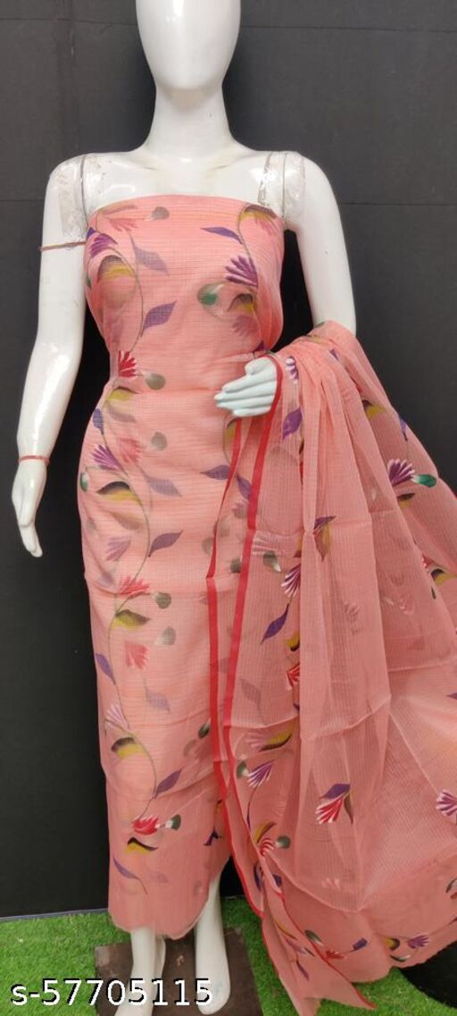 Kota Doria Hand Painting Dress Material