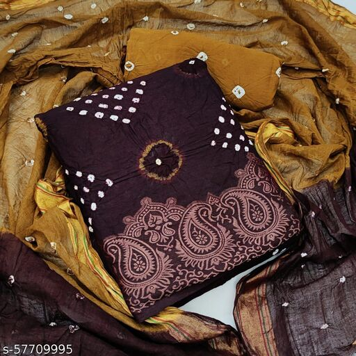 Cotton Bandhni Dress Materiall