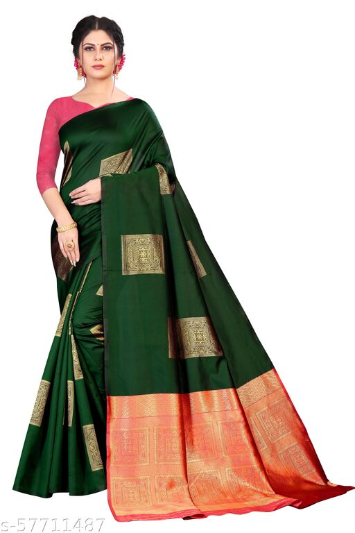 FRONTLINE Women's New Latest Stylish Designer Soft Silk Saree With unstitched Blouse For Women (Green)