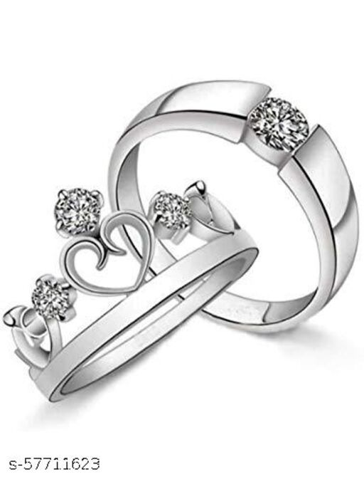 Silver Plated Metal and Cubic Zirconia Ring Set for Men & Women