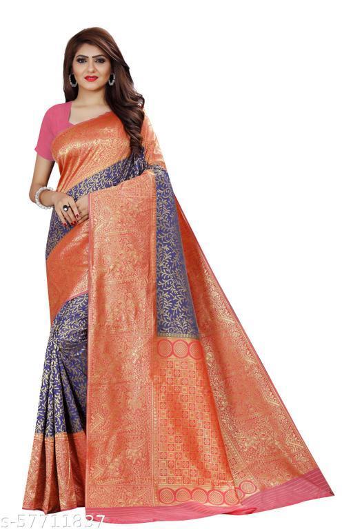 FRONTLINE Women's New Latest Stylish Designer Soft Silk Saree With unstitched   Blouse Beautiful Fancy Jacquard Saree