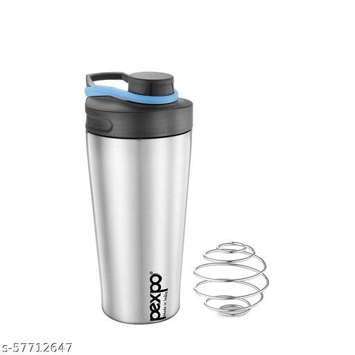 Sanchi Creation 800 ML Premium Stainless Steel Stylish Gym Shaker   Made in India   No Plastic Complete Steel Made Shaker   Leak Proof   Adjustable Carry Loop (Silver, pack of 1) Water Bottle