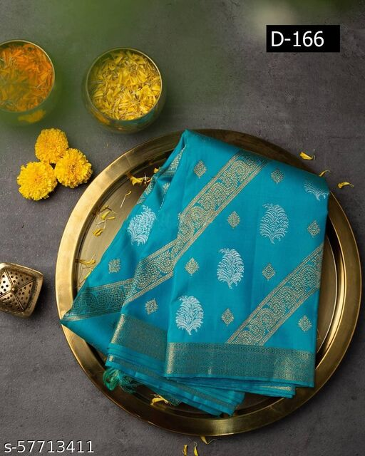 FRONTLINE Women's New Latest Stylish Designer Soft Silk Saree With unstitched Blouse  for Women (Blue)