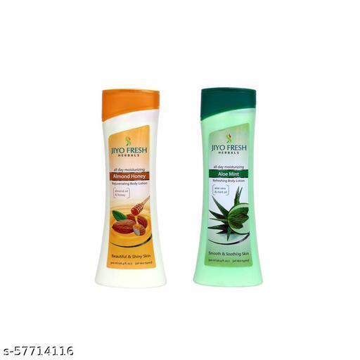 Jiyo Fresh ALMOND HONEY Body Lotion 300 ml + ALOE MINT Body Lotion 300 ml for Beautiful & Shiny Skin