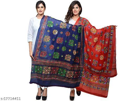 Jaipuri  Women's Embroidery Mirror Work Multi-Color Kutch Work Cotton Dupatta Pack of 2