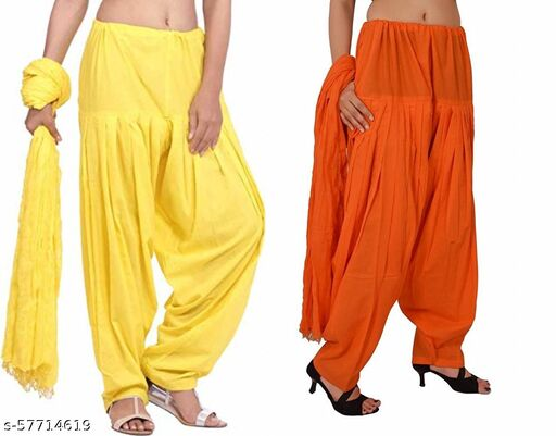BrandedCentury Women's Traditional Cotton Patiala Salwar for Women (Free Size; Pack of- 2) with Dupatta(Lemonyellow and Orange)