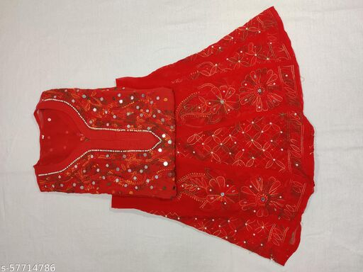 Red Multicolor Embroidered SUit