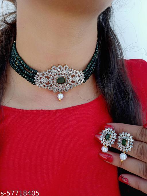 American Diamond Heavy Choker Necklace Set For Women Girls