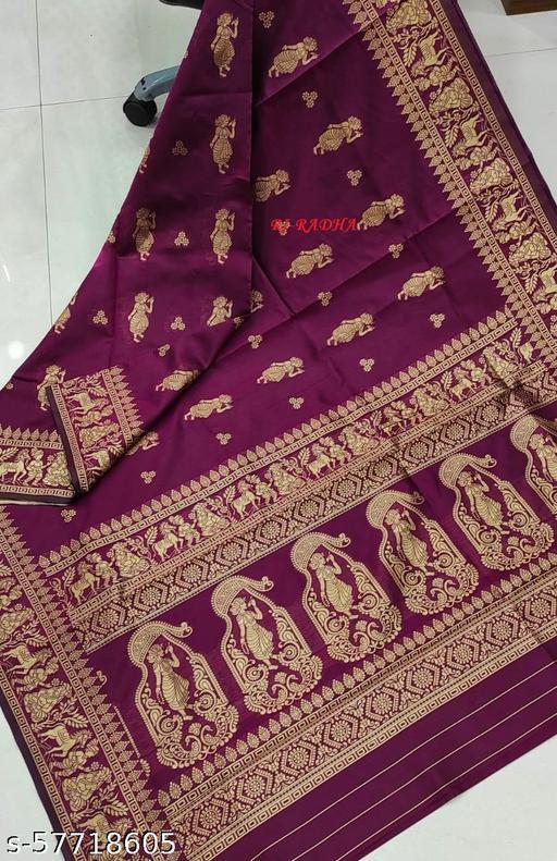 Ritika'S Pure Soft silk Zari Weaving Saree With Blouse Pcs