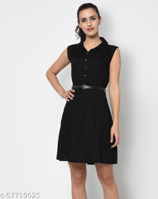 Black Solid Knee Length Dress